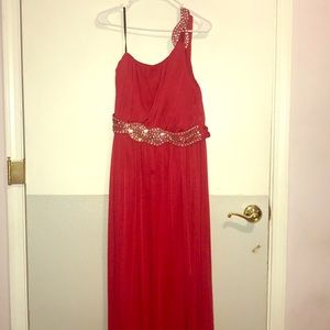Long red bedazzled dress
